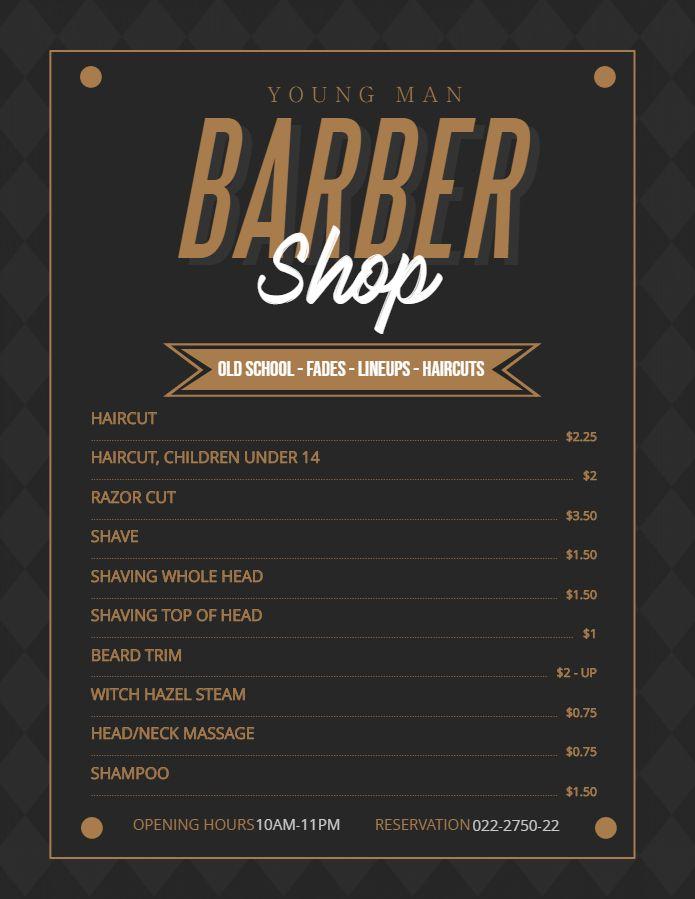 Modern Price List For Men S Barber Shop And Salon Price List