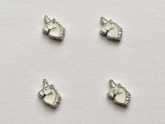 4 Unicorn Floating Charms  Glass Locket Charms  Floating