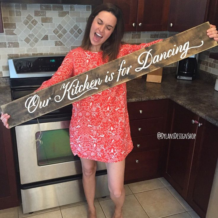 A personal favorite from my Etsy shop https://www.etsy.com/ca/listing/455550238/our-kitchen-is-for-dancing-rustic-wood