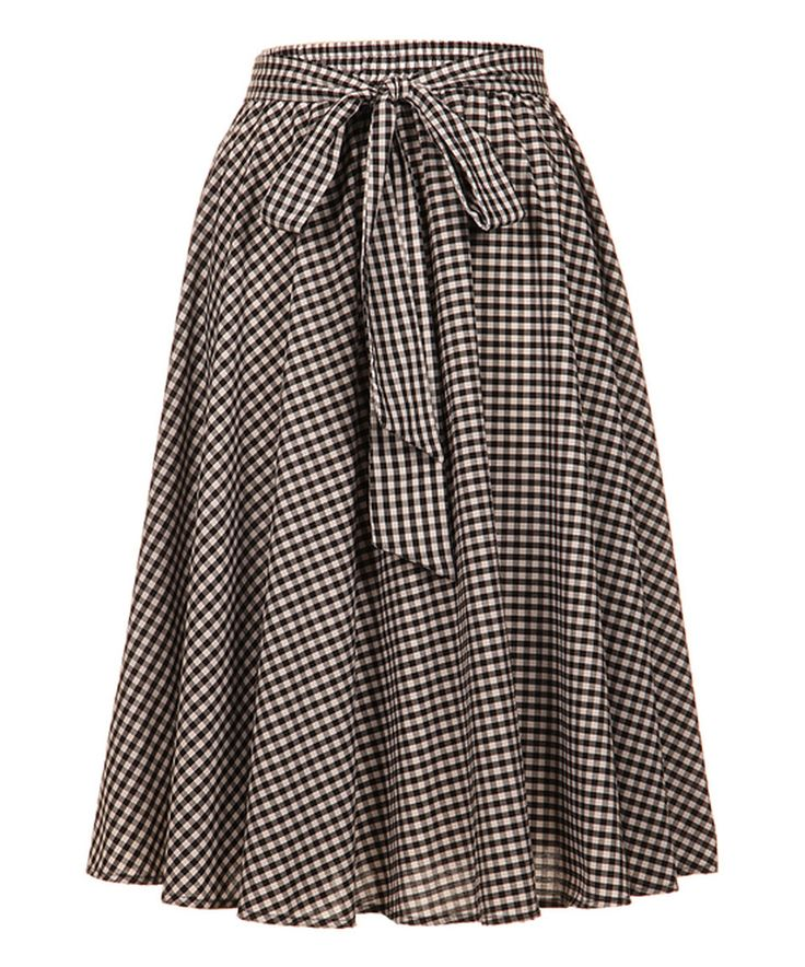 Take a look at this Fashionomics Black & White Check A-Line Skirt - Plus today!
