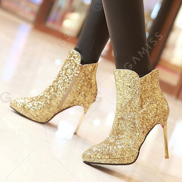 Chic Zipper and Sequined Cloth Design Short Boots For Women