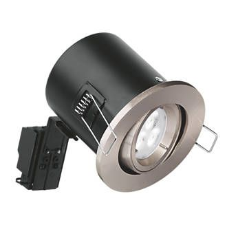 Aurora Fire Rated Adjustable LED Downlight IP20 Satin Nickel 4.5W | Downlights | Screwfix.com