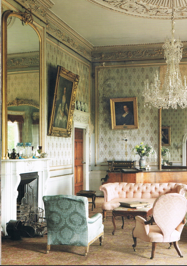 Stradbally Hall dates from 1740, The Drawing Room. Picture from Romantic Irish Homes, by Robert O'Byrne, photography Simon Brown.