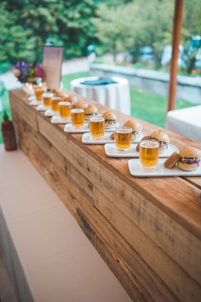Great Fun wedding food idea hamburger sliders shots of beer Mle Jayne Photography