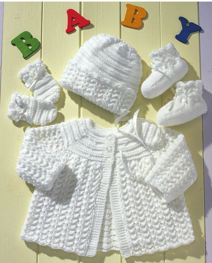 Here is the perfect knit layette for a new baby. Gorgeous lace patterned jacket and accessories will welcome any newborn to 12 month old.The round yoke jacket will fit comfortably for quite a...