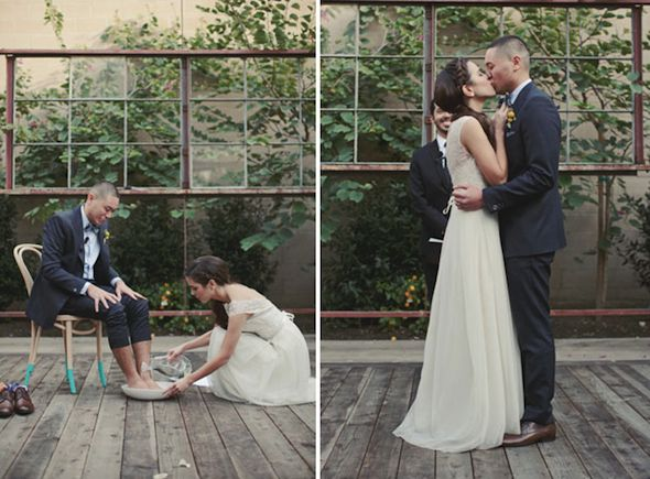 Love This Idea Foot Washing Unity Ceremony Los Angeles Greenhouse Wedding Tawny Irv