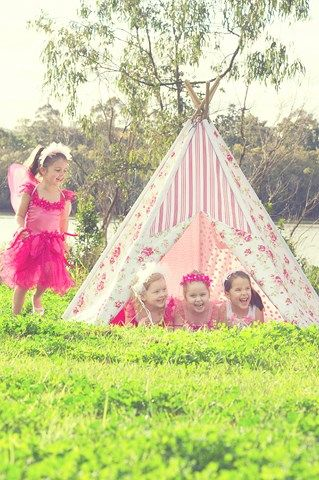 Pretty fairies in the garden with a Mocka Girly Girl Teepee!