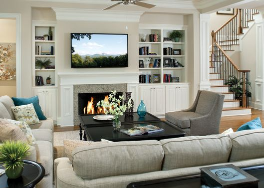 fireplace with tv mounted idea