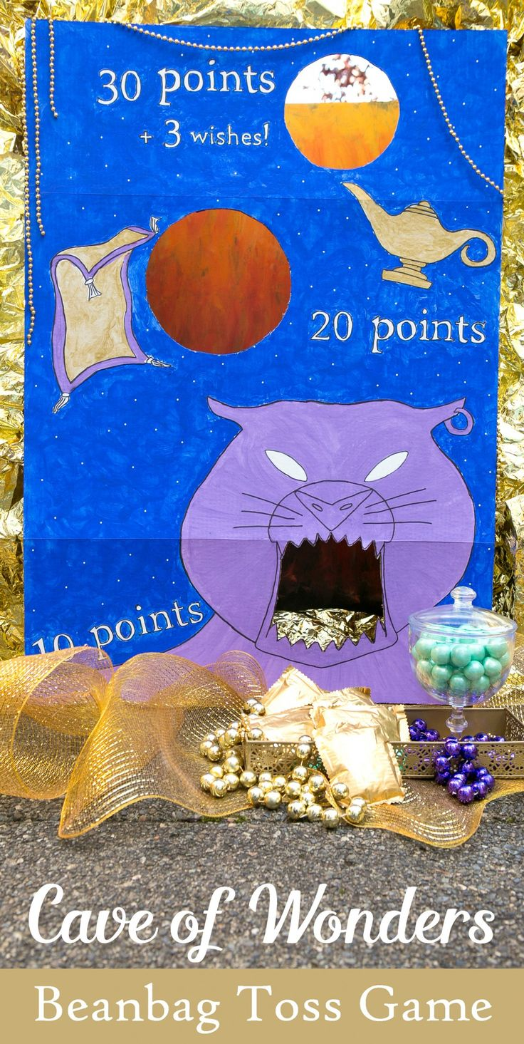 Boys and girls alike will love this Aladdin-themed party game. Toss a beanbag into the Cave of Wonders to earn points and wishes!