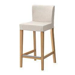 IKEA - HENRIKSDAL, Tabouret de bar à dossier, 74 cm, , Assise rembourrée pour un meilleur confort.Confortable grâce au repose-pieds.Les pieds de chaise sont en bois massif, un matériau naturel et solide.La housse du tabouret de bar HENRIKSDAL est facile à poser et à enlever.