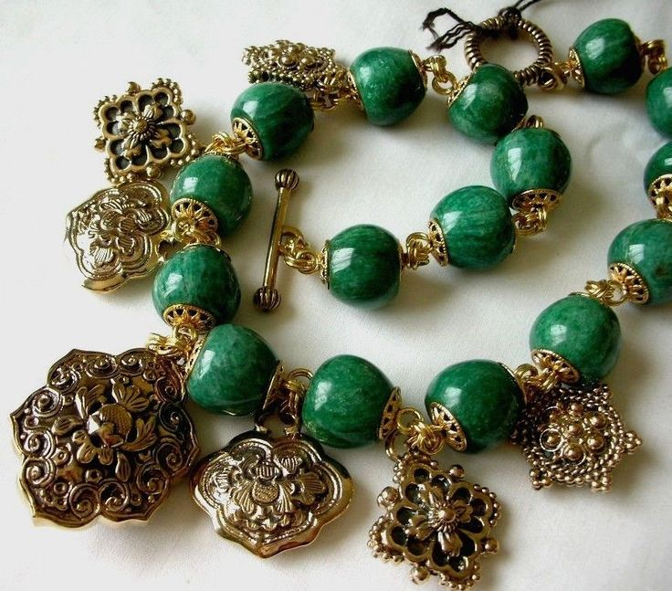 Stephen Dweck Green Turquoise w/ many Charms in Bronze set Necklace  #StephenDweck #Charm