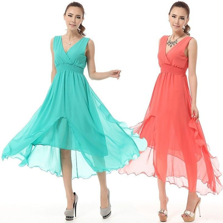 New Women Wedding Prom Star Chiffon Chic Ball Party Evening Long Dress Skirt #100New #BallGown #Casual