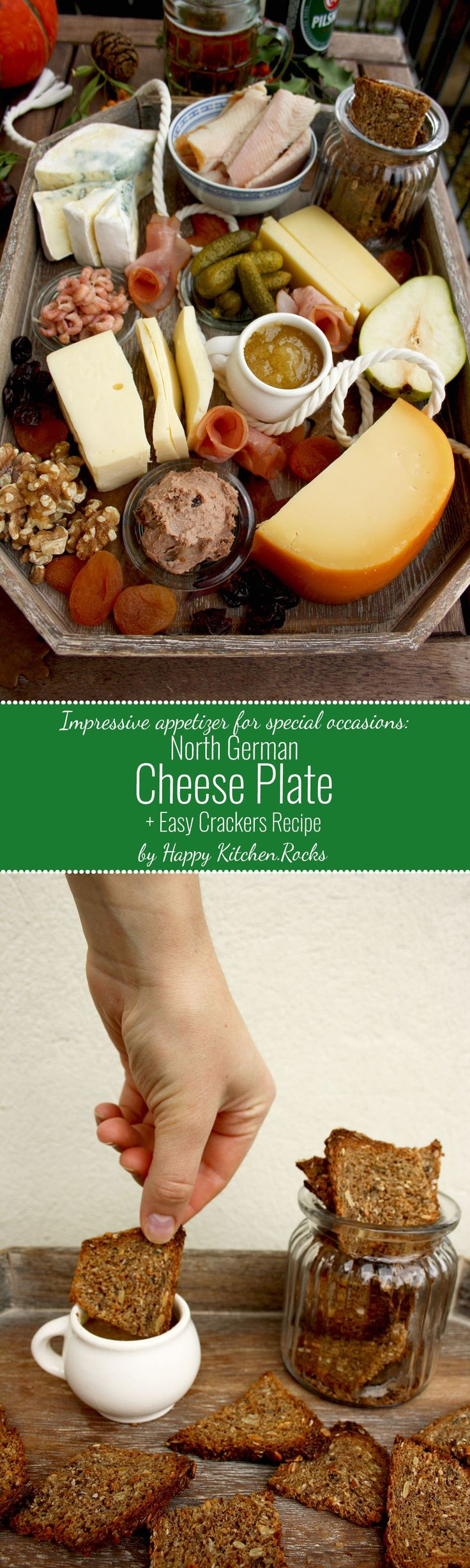 North German Cheese Plate and Easy Crackers Recipe: effortless and impressive appetizers and cheeses, rye crackers, meat, fish, fruit and nuts.(Cheese Table Appetizers)