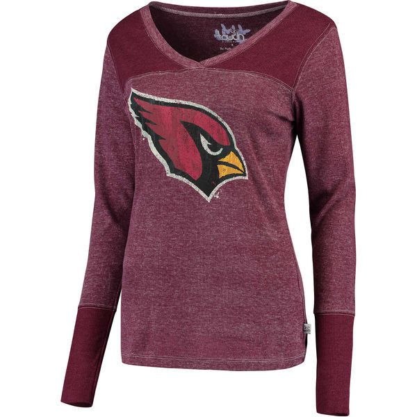 Women's Touch by Alyssa Milano Cardinal Arizona Cardinals Goal Line... ❤ liked on Polyvore featuring tops, t-shirts, purple t shirt, v-neck tops, flat top, v-neck tee and purple long sleeve top