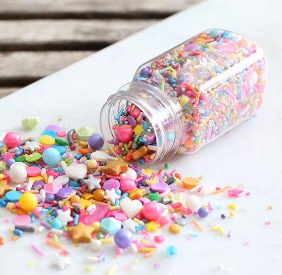 Sprinklefetti Unicorn Sprinkle Mix | Use our exclusive Sprinklefetti sprinkle mixes to decorate cookie, cupcakes, cakes and chocolate bark! Each custom sprinkle blend is created with a mix of jimmies, nonpareils, sparkling sugar, sanding sugar, quins, edible glitters, sugar pearls and more! | www.bakerspartyshop.com