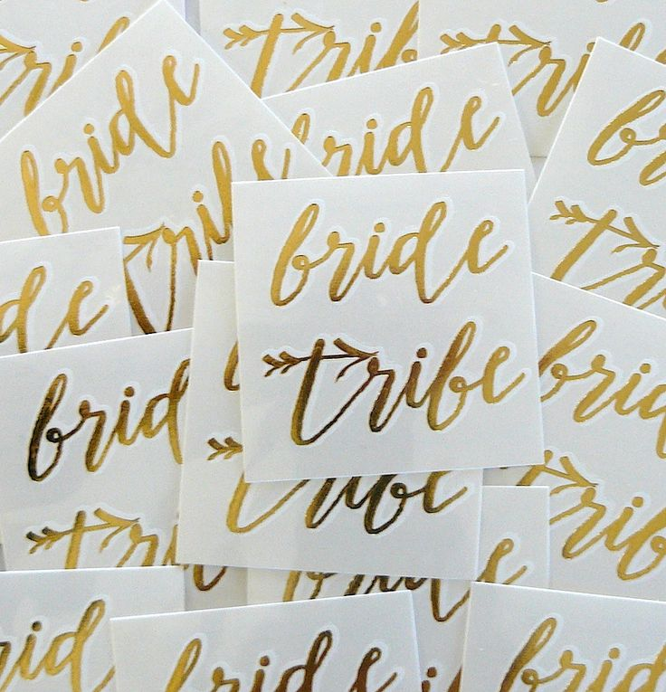 """New*** bride tribe - set of 10- temporary gOLD tattoo - 2"""" x 2"""" - bachelorette party -bridesmaid tattoo - rEADY-to-sHIP by janetmorrin on Etsy"""