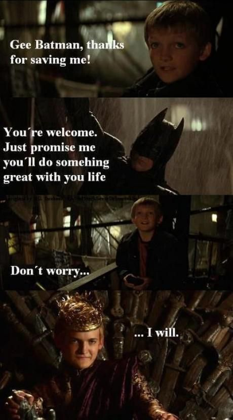 Joffery Batman  Game of Thrones Memes. No wonder he looked familiar when I first saw him on game of thrones