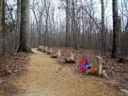 Confederate Graves along the Natchez Trace near Tupelo, Mississippi.  Thirteen unknown Southern soldiers lie buried on a  hill by the route of the original Natchez Trace.
