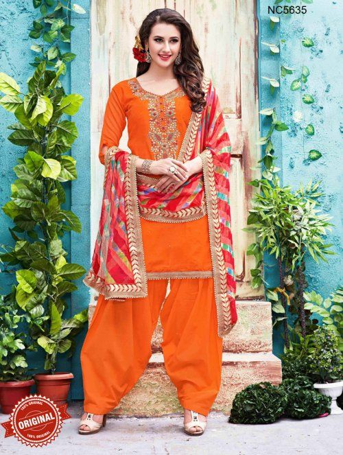 Orange Chanderi Silk Patiala Suit