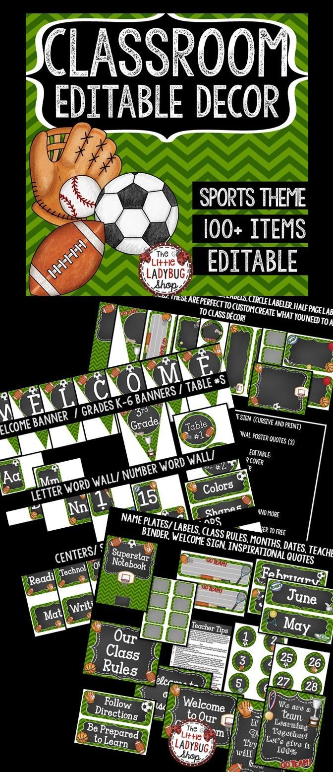 Are you looking for a FUN Sports Theme Class Decor EDITABLE Set? This set includes over 100 items! This Classroom Decor set includes EDITABLE options to meet your classroom needs! This custom classroom design is created with the simplicity that keeps a fun look, and can POP out to express your personality! This complete set is easy to print. It is SPORTS with the Green Chevron & White and Chalkboard accents!