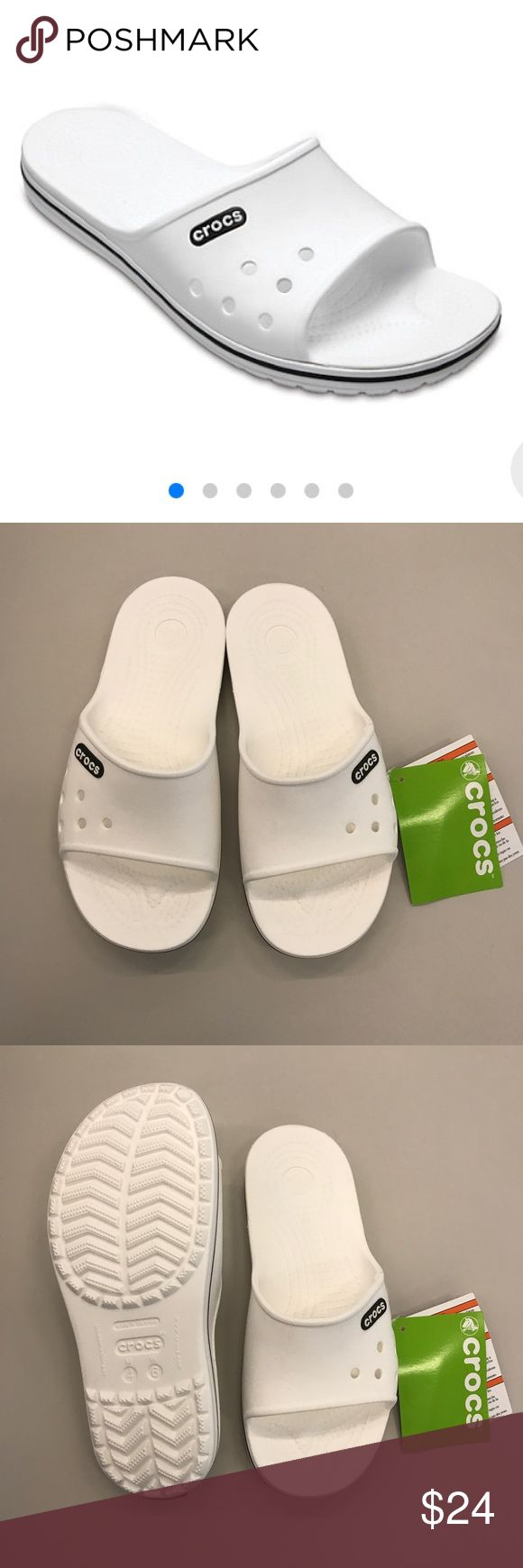 NWT CROCS CROCBAND CROC BAND slide II white sz 6 Brand new with tags slides by crocs, size 6. Never worn perfect condition. Crocband II Slide Item #204108   Athletic-inspired style gets an update in the Crocband™ II Slide with our signature sidewall stripe and a breathable, no-sweat attitude. Whether you're sunning yourself at the pool or cooling down after a workout, this incredibly light and versatile slide with our original Croslite™ foam cushion has your back.  Sporty Crocband™ style…