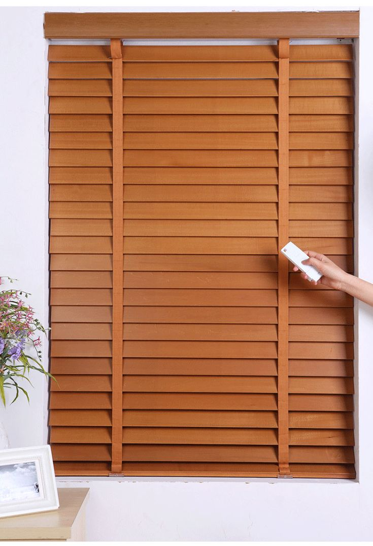 FREE SHIPPING MOTORIZED  WOODEN BLINDS DOOYA Remote Control  -- MADE TO MEASURE 5CM  WIDTH SLATS