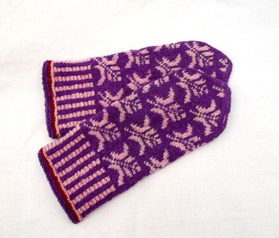 Handknitted wool mittens latvian mittens by peonijahandmadeshop