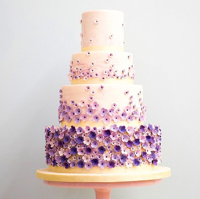 The 114 best cake inspirations images on pinterest purple flowers adorn each layer of this four tiered wedding cake mightylinksfo