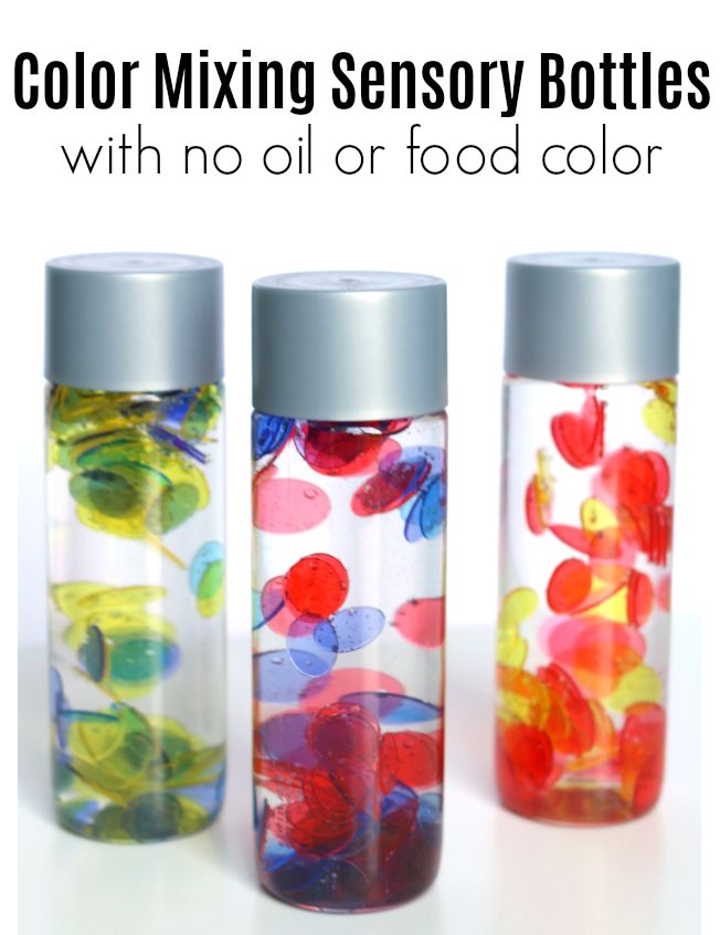 Make color mixing sensory bottles without messy oil or food color. Great sensory bottles for teaching preschool children about color mixing.