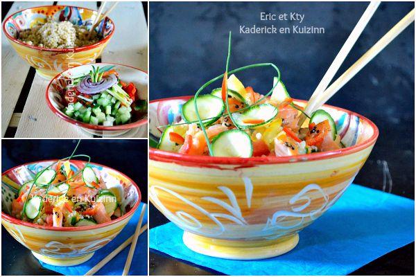 Présenter taboule - Salade céréales legumes saumon plancha chez Kaderick en Kuizinn