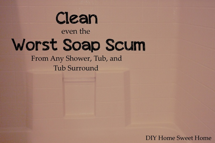 how to get rid of soap scumCleaning Soaps Scum, Shower Tubs, Cleaning The Shower, Tubs Show, Art Cleaning, Tubs Cleaning, Tubs Surroundings, Baking Sodas, Cleaning Shower