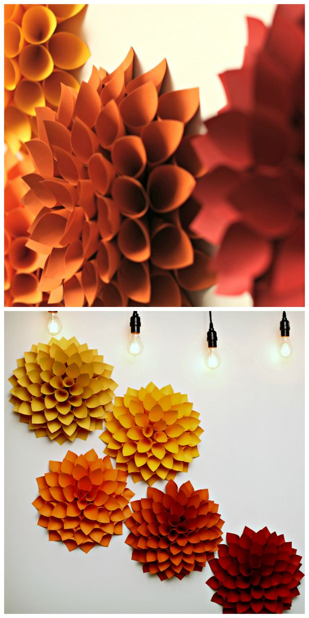Obsessed: Weekday Crafternoon: Giant Paper Dahlias (http://blog.hgtv.com/design/2013/09/03/weekday-crafternoon-giant-paper-dahlias/?soc=pinterest): Diy Fall Decoration, Fall Diy, Fall Design, Diy Paper Flower, Diy Paper Dahlia, Wall Flower