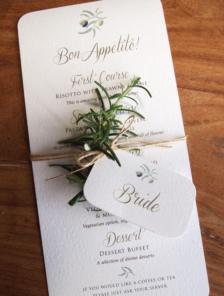 calligraphy menus for rustic, outdoor or quirky weddings. Rustic Mediterranean Wedding Menu & Place Name Tag. Mediterranean / Olive themed wedding stationery / Italian Wedding / Rustic Wedding / Bohemian style wedding