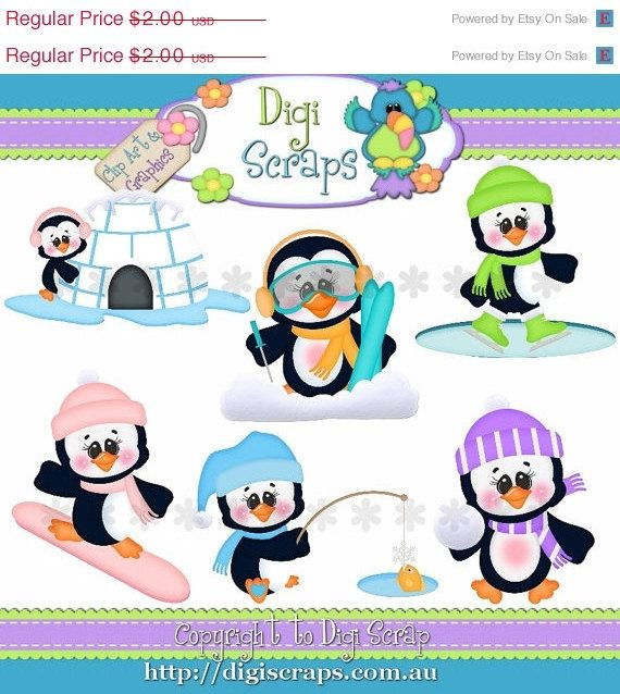 Snow Much Fun Christmas Penguins Clipart set... you will recieve 300dpi png files  design by: Kristi W Designs    HANDMADE items are always allowed