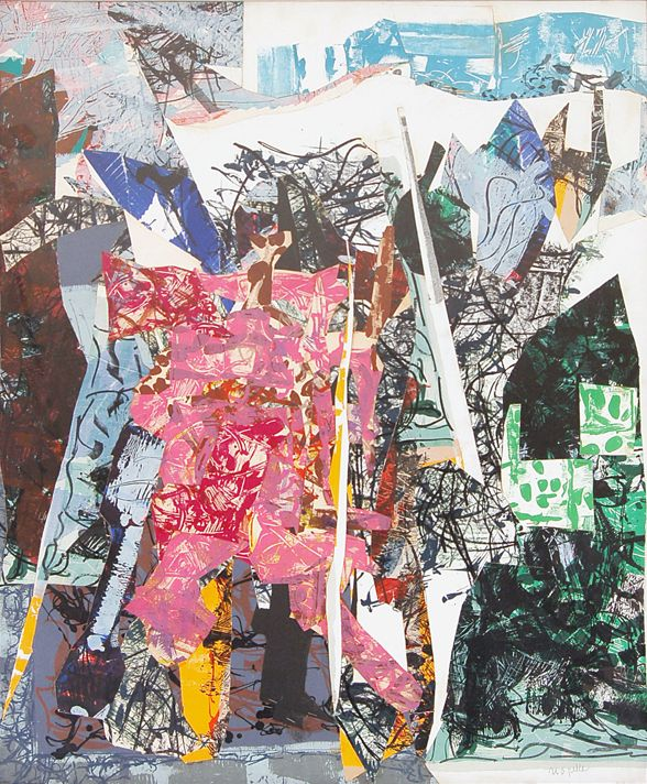 Collage by Jean-Paul Riopelle, 1967, Paradisier-6415, paper on canvas.