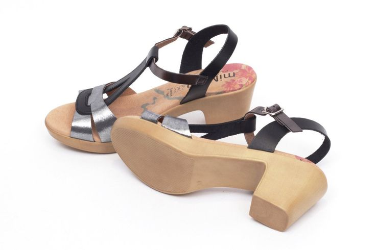 miMaO Eivissa S Negro –Sandalias mujer tacón plataforma plata cómodo piel - Comfort women's sandals heel platform black metal silver leather
