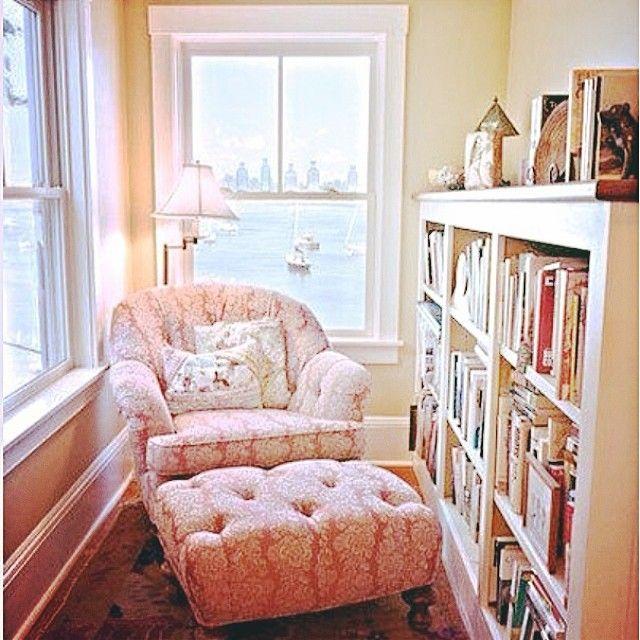 Cozy reading spot - no better use for this small space! #sittingroom #chair #ottoman #readingnook #readingcorner #shelves #shelving #bright #homedecorating #homedecor #interiordesign #books