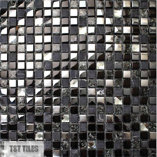 Pierre carreaux de verre bleu fonc gris noir argent - Mosaique miroir autocollante ...