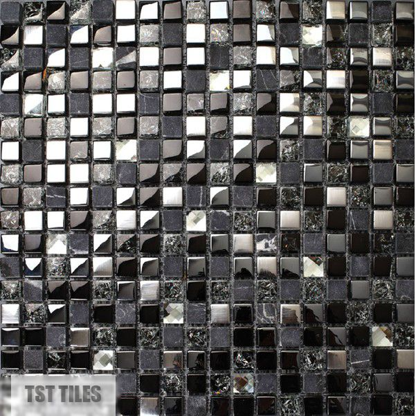 Pierre carreaux de verre bleu foncé gris noir argent Italie mosaïque carreaux de la cuisine salle de bains miroir tuile dosseret mur autocollant décor carrelage(China (Mainland))