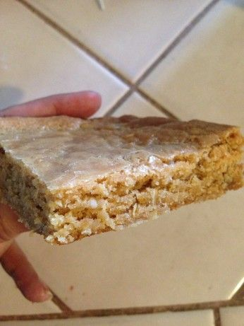 School Days Peanut Butter Chews--1c butter, 2c PB, 2 c sugar, 1c br sugar, 4 eggs, 2t vanilla,  mix. Add 2c flour, 1 1/2t bak soda, 1 1/2 oats. 350, 25 mins in 2- 9x13 grease pans.