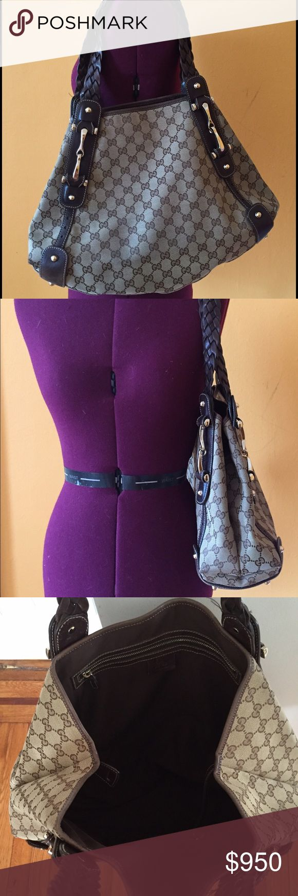 Gucci leather GG canvas  Pelham hobo shoulder bag Pre-owned Gucci brown leather GG monogram canvas  Pelham hobo shoulder bag Gucci Bags Shoulder Bags