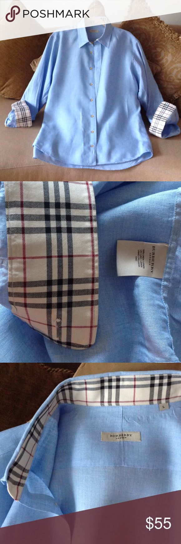 'Authentic Burberry of London' - Men's Shirt Sky Blue Men's Burberry Shirt in Size Large. It's 100% Linen. The Burberry plaid is the perfect accent next to the blue, with the Burberry logo stitched on the front chest. This is in excellent condition and has been dry cleaned for your convenience! Burberry Shirts Casual Button Down Shirts