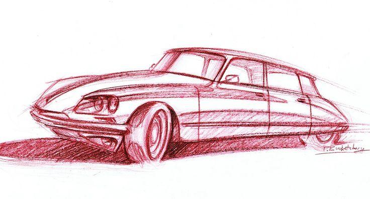 Citroen DS 1965 crayon 42x29cm drawn in 2012  by Pavlo Burkatskyy