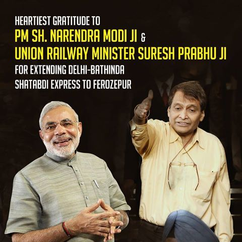 Heartiest gratitude to PM Sh. Narendra Modi ji and Union Railway Minister Sh. Suresh Prabhu Ji for Extending Delhi-Bathinda Shatabdi Express to Ferozepur. This train will boost railway connectivity in the Malwa region. Along with the extension, the train has also been given three additional stoppages at Tohana, Kotkapura and Faridkot. #harsimratkaurbadal #akalidal