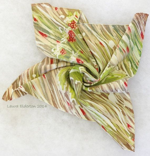 Silk Pocket Square - Wild Strawberries in the Grasses - Hand Painted Dupioni Silk (14x14inches) by Laura Elderton