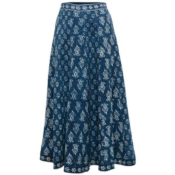 East Chayla Panelled Skirt, Indigo ($42) ❤ liked on Polyvore featuring skirts, panel skirt, long flare skirt, long patterned skirts, cotton skirt and blue cotton skirt