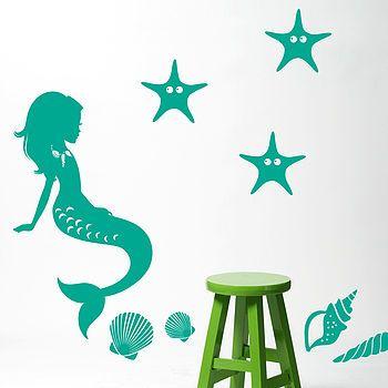 Underwater Mermaid And Starfish Wall Sticker