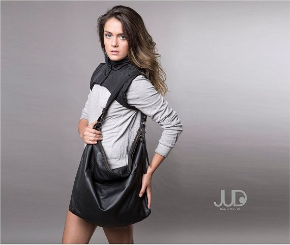 FREE SHIPPING Olive Leather tote bag with zipper soft by JUDtlv