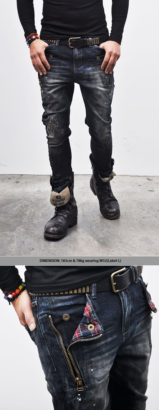 Bottoms :: Jeans :: Check Accent Zippered Semi-baggy-Jeans 115 - Mens Fashion Clothing For An Attractive Guy Look