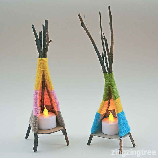 Gather some sticks and yarn to make teeny-tiny teepees.